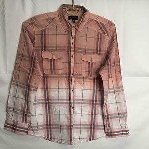 International Concept Plaid Button Front Shirt